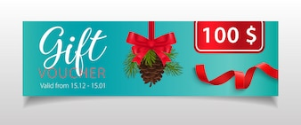 Gift Voucher lettering with fir-tree cone and ribbons