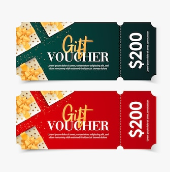 Gift voucher merry christmas template with snowflakes gold.