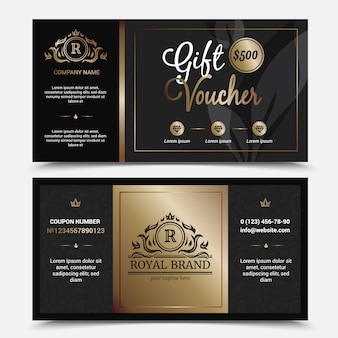 Gift voucher royal brand template with ornate flourishes crowns
