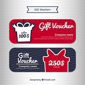 Gift voucher set in different colors