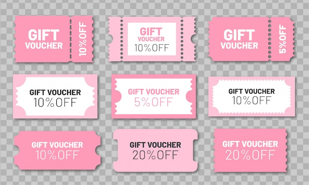Gift voucher set. pink discount coupons 5, 10 and 20% off.