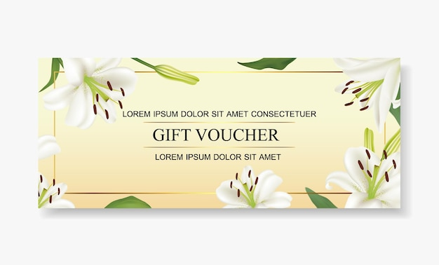 Gift voucher template beautiful white lily flower. Premium Vector