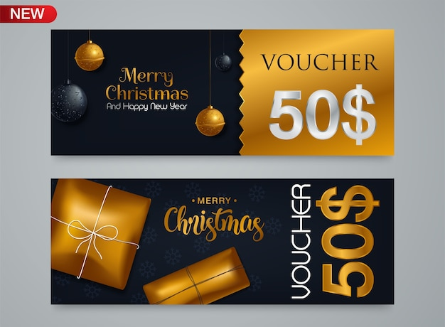 Gift voucher template for christmas and new year discount coupon