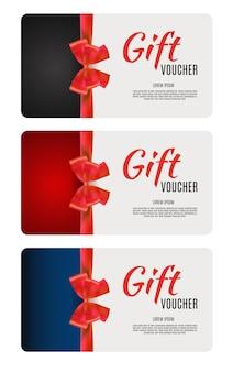 Набор шаблонов подарочных сертификатов с лентой