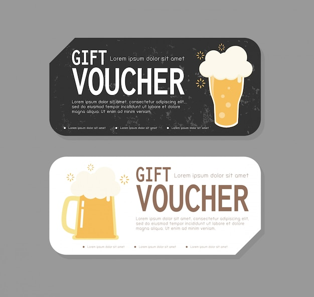 Gift voucher template design for opening beer party, discount gift voucher with mug of free beer to increase the sales of beer in bar and cafe, special offer or certificate coupons  illustration
