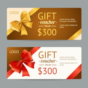 Gift voucher template and gift bow.