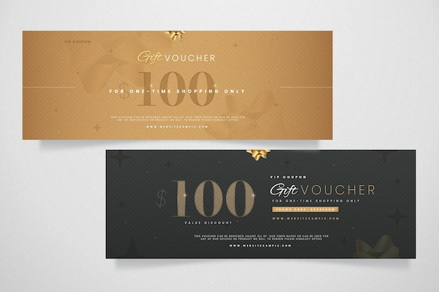 Gift voucher template golden design
