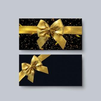 ギフト券テンプレート。図。割引クーポンのレイアウト。黄金の弓、リボン、輝く紙吹雪と黒の背景