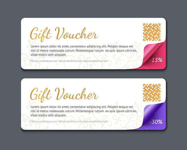 Gift voucher template, realistic illustration of paper banner with curl corner isolated on dark background.