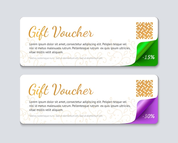 Gift voucher template, realistic illustration of paper banner with curved corner isolated on gray background.