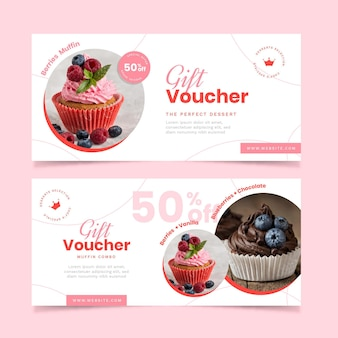 Gift voucher template set with image