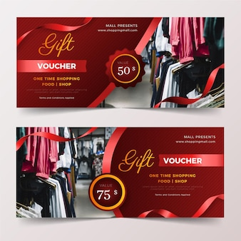 Gift voucher template set with photo