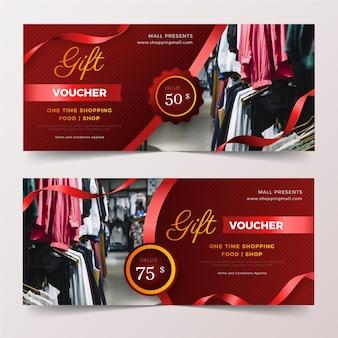 Набор шаблонов подарочных сертификатов с фото