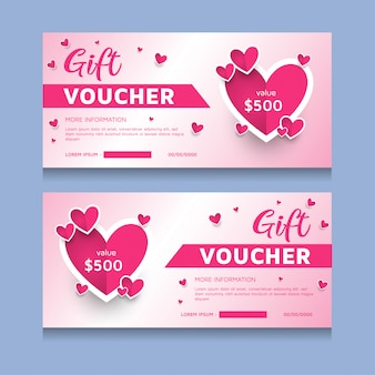Gift voucher template for valentines day