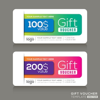 Gift voucher template with abstract colorful modern design