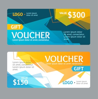 Gift voucher template with abstract geometric bubble. vector illustration