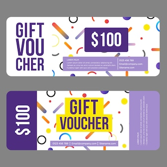Gift voucher template with abstract pattern