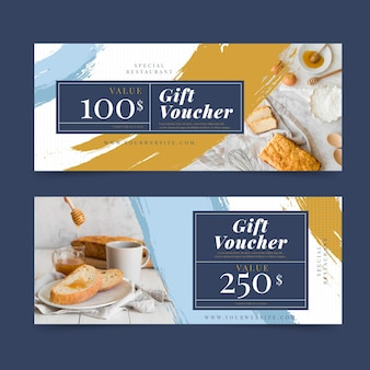 Gift voucher template with breakfast photo