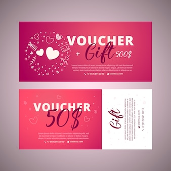 Gift voucher template with brigh telements