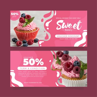 Gift voucher template with cupcake photo