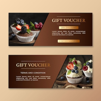 Gift voucher template with cupcakes photo