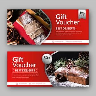 Modello del buono regalo con foto di dessert