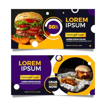 Gift voucher template with fast food photo