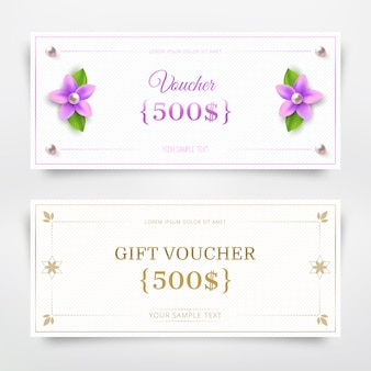 Gift voucher template with flower and pearl