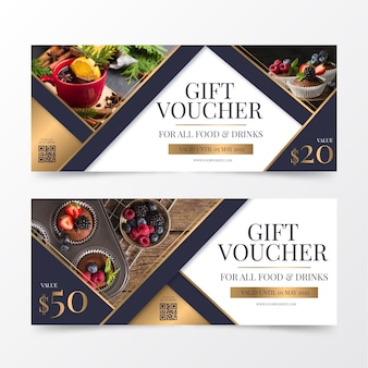 Gift voucher template with food and drinks photo