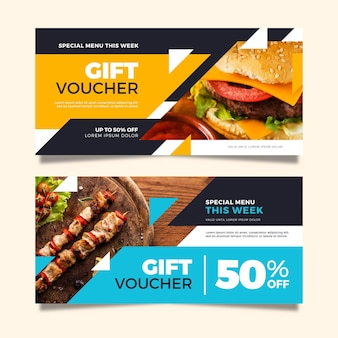 Gift voucher template with food photo