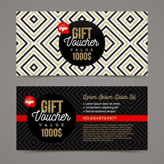 Gift voucher template with glitter gold elements.  illustration.