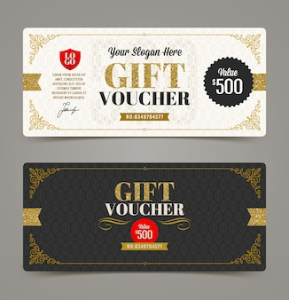 Gift voucher template with glitter gold.   illustration.