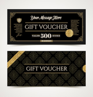 Gift voucher template with glitter gold,  illustration.