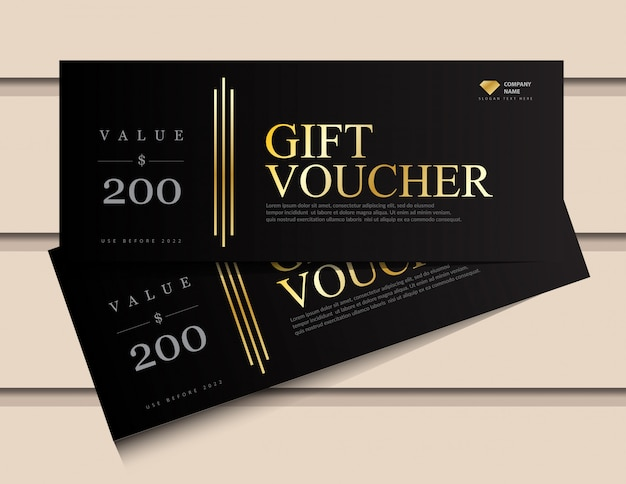 Gift voucher template with glitter gold luxury elements.