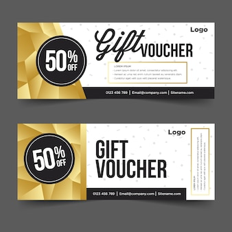 Gift voucher template with gold and black background