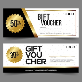 Gift voucher template with gold and black. background