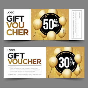 Gift voucher template with gold and black.