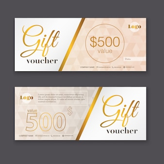 Gift voucher template with gold pattern