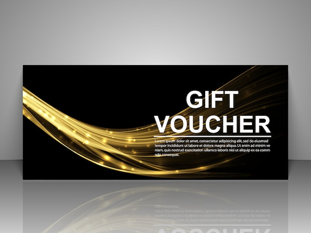 Gift voucher template with golden luminous lines.