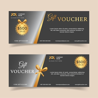Gift voucher template with golden luxury elements