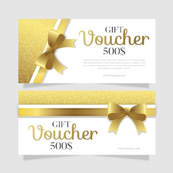 Gift voucher template with golden ribbon