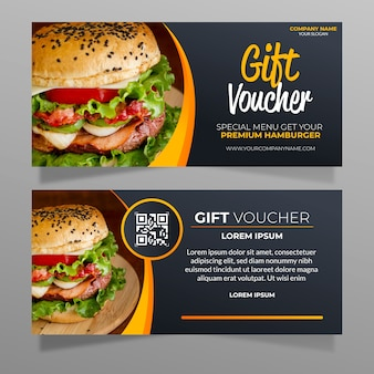 Gift voucher template with hamburger photo