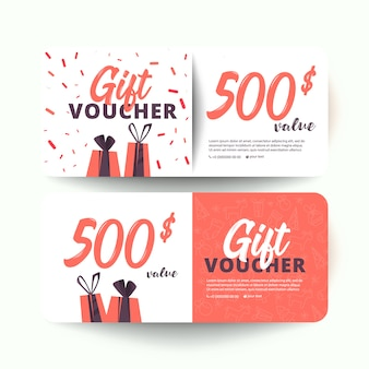 Gift voucher template with hearts and a gift box. 500 dollars