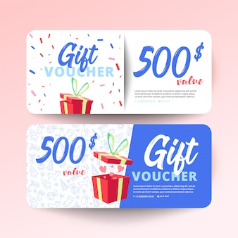Gift voucher template with hearts and a gift box