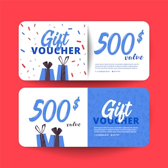 Gift Voucher Template With Hearts And A Box