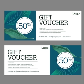 Gift voucher template with leaf background