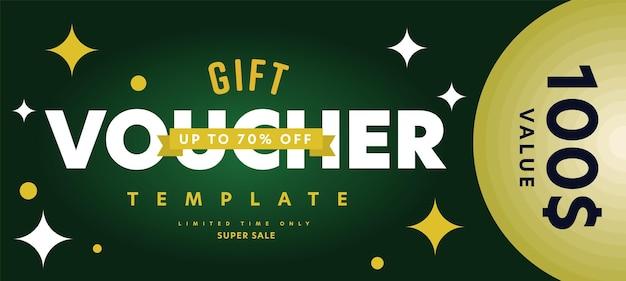Шаблон подарочного ваучера с ограниченным по времени предложением супер распродажи.