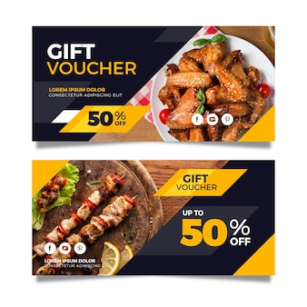 Gift voucher template with meals photos