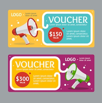 Gift voucher template with megaphone