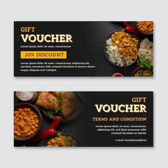 Gift voucher template with mexican food photo